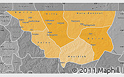 Political Shades Map of Nara, desaturated