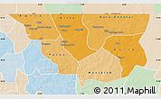 Political Shades Map of Nara, lighten