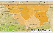 Political Shades Map of Nara, satellite outside