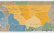 Political Shades Map of Nara, semi-desaturated