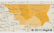 Political Shades Map of Nara, shaded relief outside