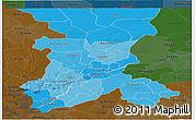 Political Shades Panoramic Map of Koulikoro, darken