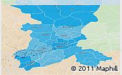 Political Shades Panoramic Map of Koulikoro, lighten