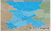 Political Shades Panoramic Map of Koulikoro, semi-desaturated
