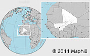 Blank Location Map of Mali, gray outside