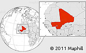 Blank Location Map of Mali, highlighted continent