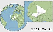 Blank Location Map of Mali, savanna style outside