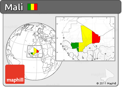 Flag Location Map of Mali, blank outside