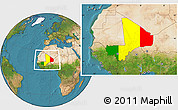 Flag Location Map of Mali, satellite outside