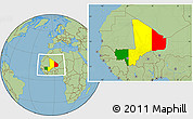 Flag Location Map of Mali, savanna style outside