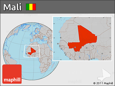 Gray Location Map of Mali