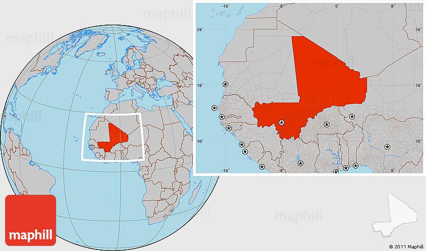 Gray Location Map of Mali