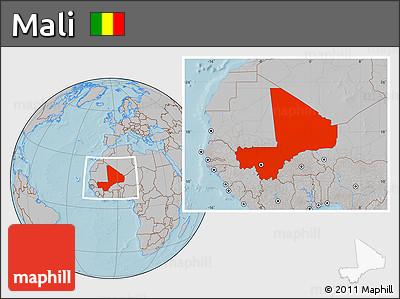 Gray Location Map of Mali, hill shading