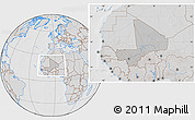 Gray Location Map of Mali, lighten, desaturated, hill shading