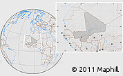 Gray Location Map of Mali, lighten, desaturated