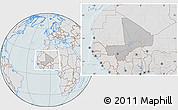 Gray Location Map of Mali, lighten, hill shading