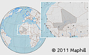 Gray Location Map of Mali, lighten, land only, hill shading
