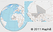 Gray Location Map of Mali, lighten, land only