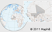 Gray Location Map of Mali, lighten