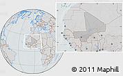 Gray Location Map of Mali, lighten, semi-desaturated, hill shading