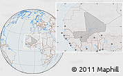 Gray Location Map of Mali, lighten, semi-desaturated