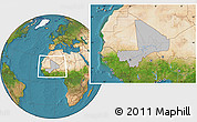 Gray Location Map of Mali, satellite outside, hill shading