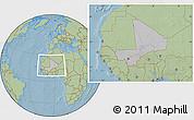 Gray Location Map of Mali, savanna style outside, hill shading