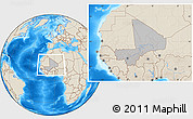 Gray Location Map of Mali, shaded relief outside, hill shading