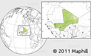 Physical Location Map of Mali, blank outside