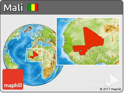Physical Location Map of Mali