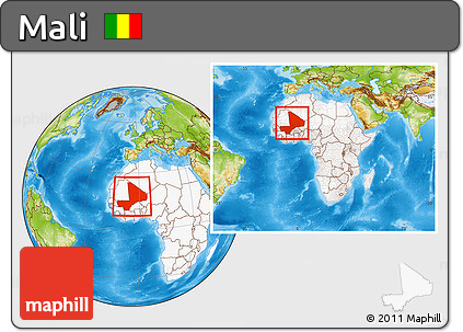 Physical Location Map of Mali, highlighted continent, within the entire continent