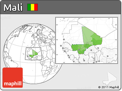 Political Location Map of Mali, blank outside