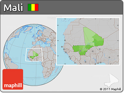 Political Location Map of Mali, gray outside