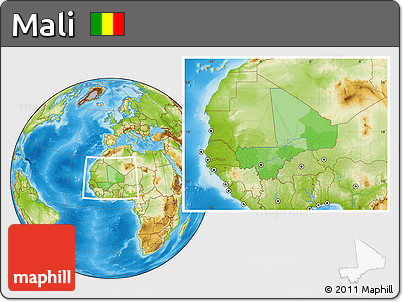 Political Location Map of Mali, physical outside