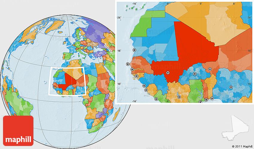 Political Location Map of Mali
