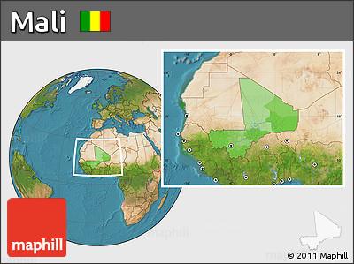 Political Location Map of Mali, satellite outside