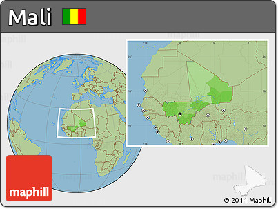 Political Location Map of Mali, savanna style outside