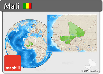 Political Location Map of Mali, shaded relief outside