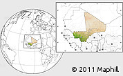 Satellite Location Map of Mali, blank outside