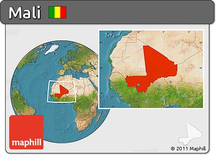 Satellite Location Map of Mali