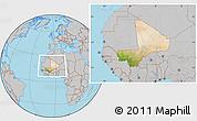 Satellite Location Map of Mali, gray outside