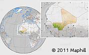 Satellite Location Map of Mali, lighten, desaturated
