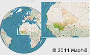 Satellite Location Map of Mali, lighten, land only