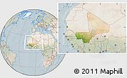 Satellite Location Map of Mali, lighten