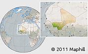 Satellite Location Map of Mali, lighten, semi-desaturated