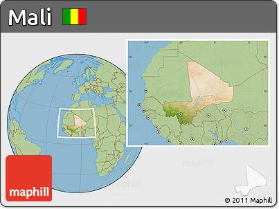 Satellite Location Map of Mali, savanna style outside