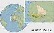 Satellite Location Map of Mali, savanna style outside, hill shading