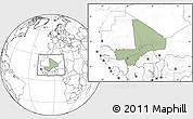 Savanna Style Location Map of Mali, blank outside, hill shading inside