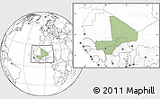 Savanna Style Location Map of Mali, blank outside