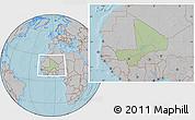 Savanna Style Location Map of Mali, gray outside, hill shading